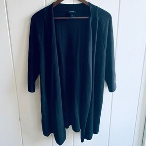 Ann Taylor Drape Front Black Sweater w/Pockets